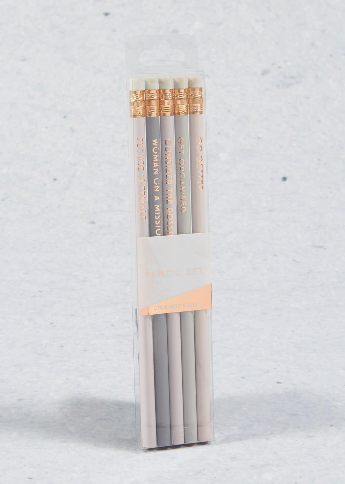Set of 5 Slogan Pencils (20cm x 4cm x 1cm)