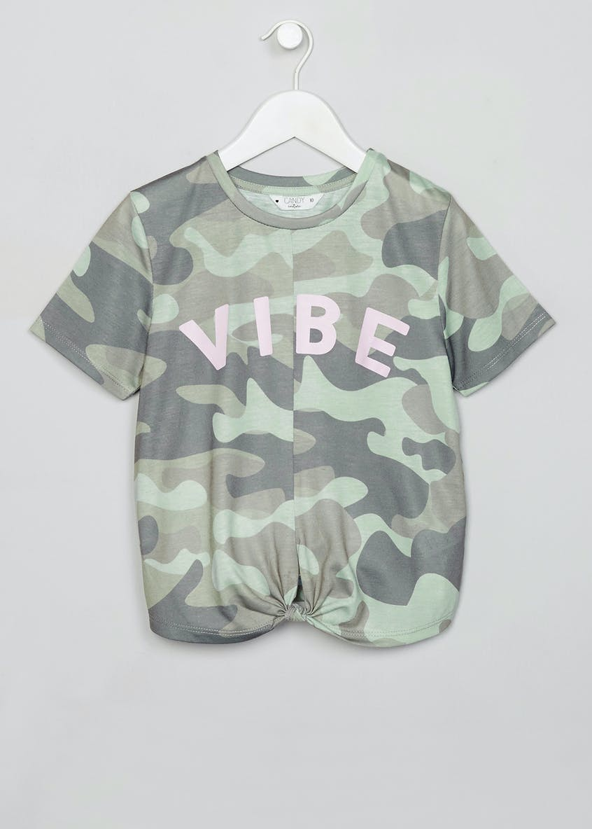 Girls Candy Couture Camo Slogan Knot Front T-Shirt (9-16yrs)