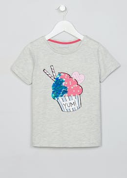 Girls Candy Couture Sequin & Pearl Cupcake T-Shirt (9-16yrs)