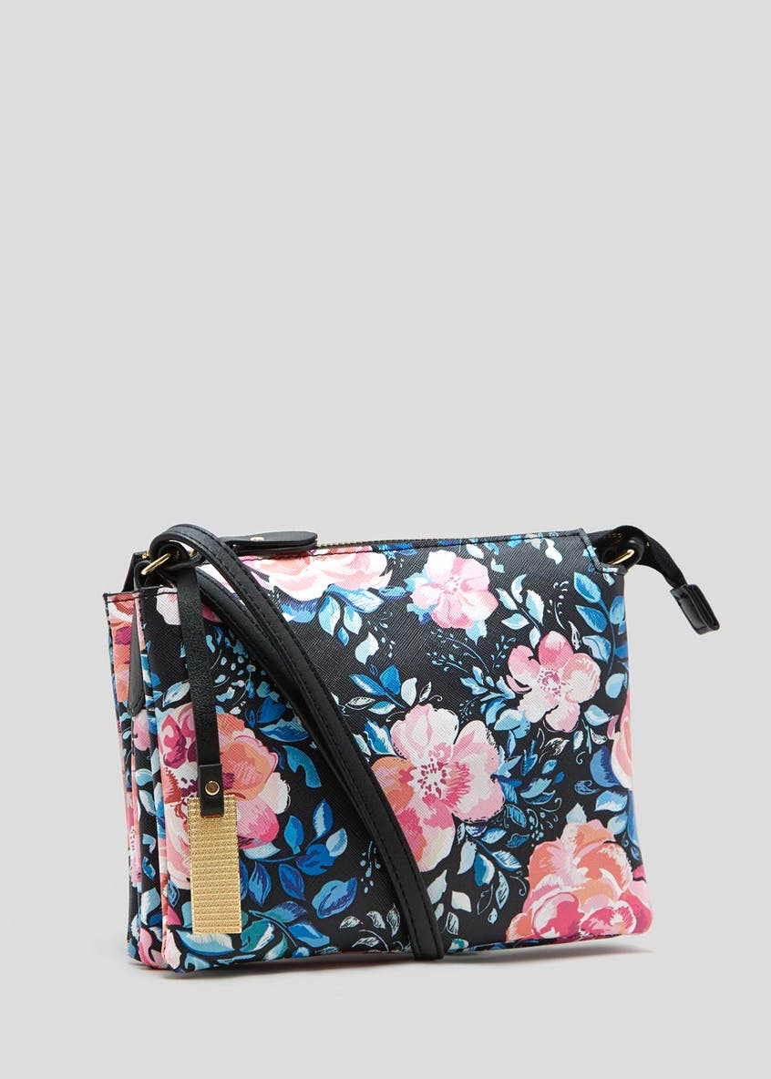 Floral Triple Compartment Cross-Body Bag