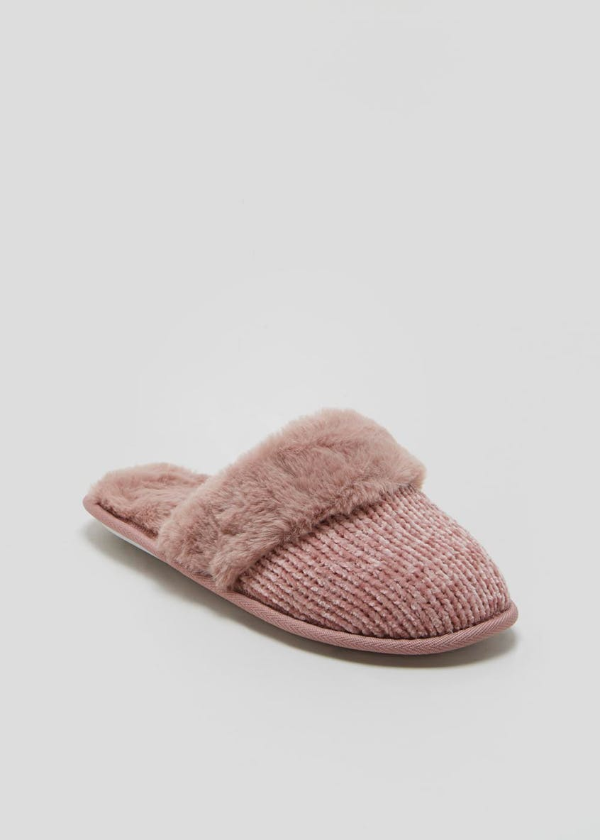 Faux Fur Trim Chenille Mule Slippers