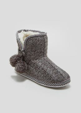 Lurex Knitted Slipper Boots