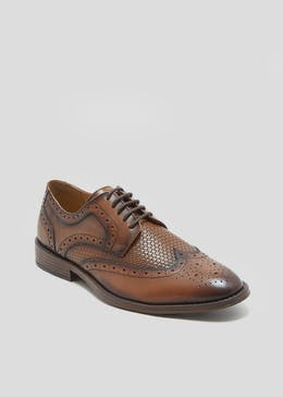 Real Leather Basket Weave Brogues