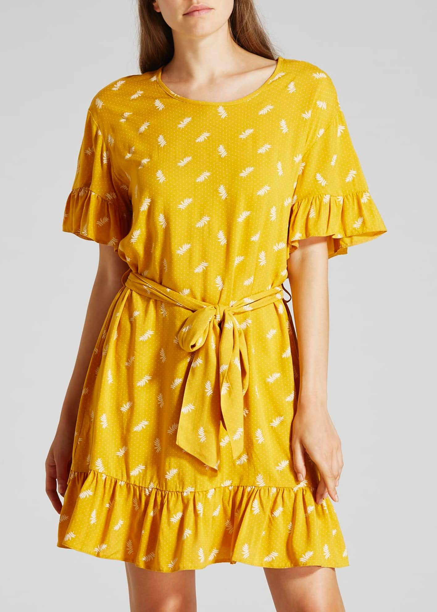 Printed Frill Sleeve Dress - Yellow