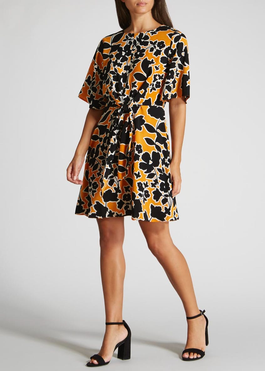 Floral Tie Front Dress - Mustard