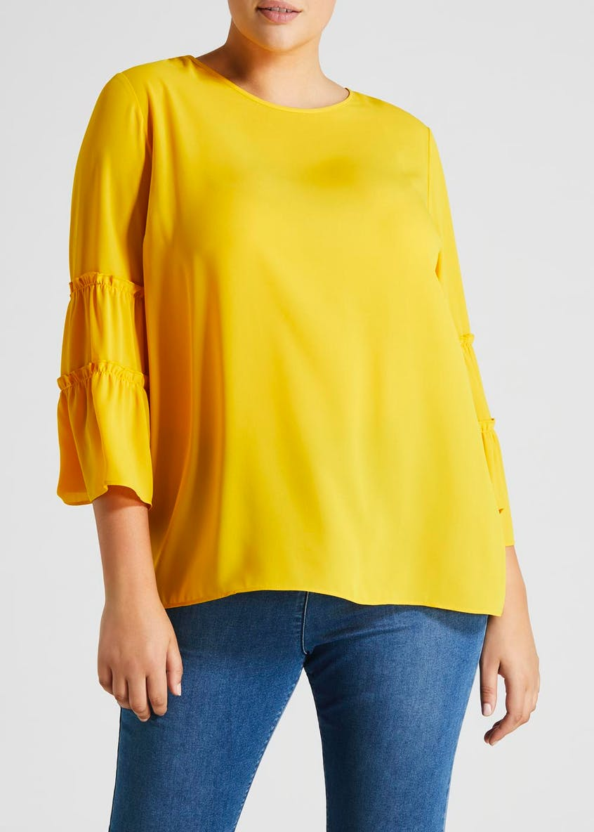 Papaya Curve Bell Sleeve Blouse