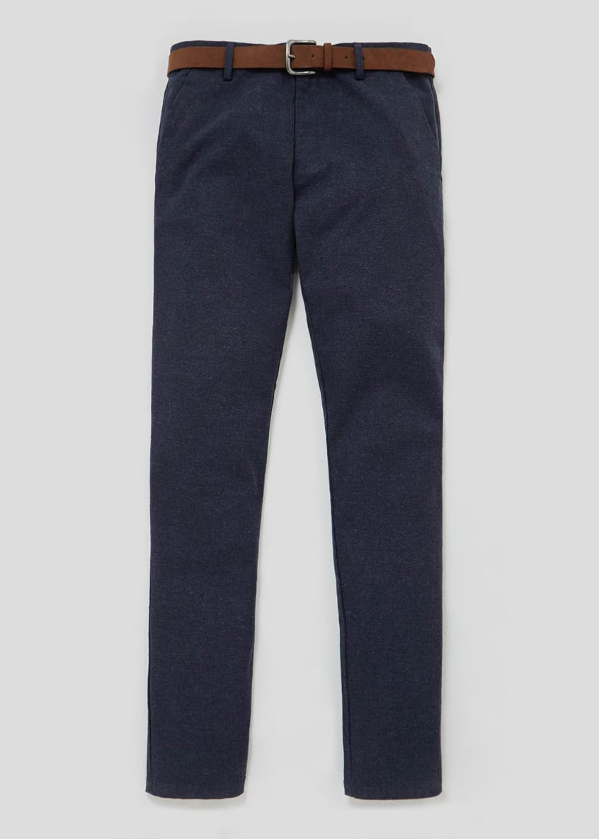 Slim Fit Belted Brushed Oxford Trousers