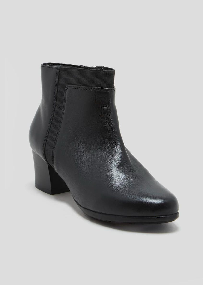 Soleflex Real Leather Block Heel Ankle Boots