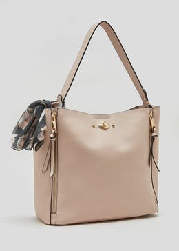 Scarf Zip Front Slouch Bag