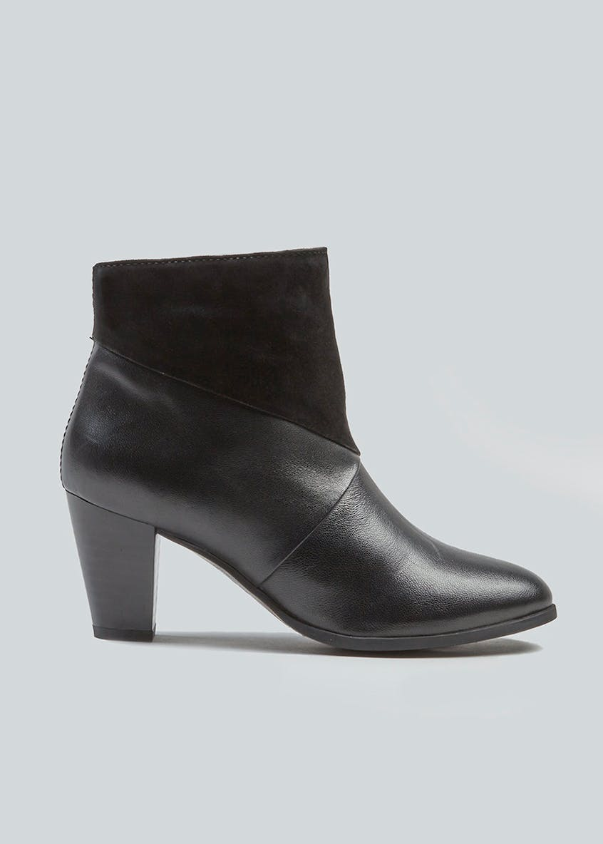 Soleflex Real Leather Panelled Ankle Boots