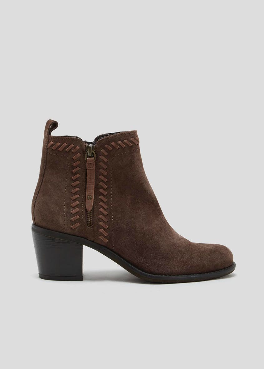 Soleflex Real Suede Stitch Detail Ankle Boots
