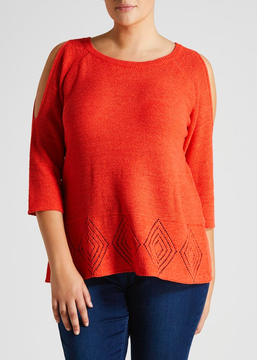 Papaya Curve Cold Shoulder Knitted Top