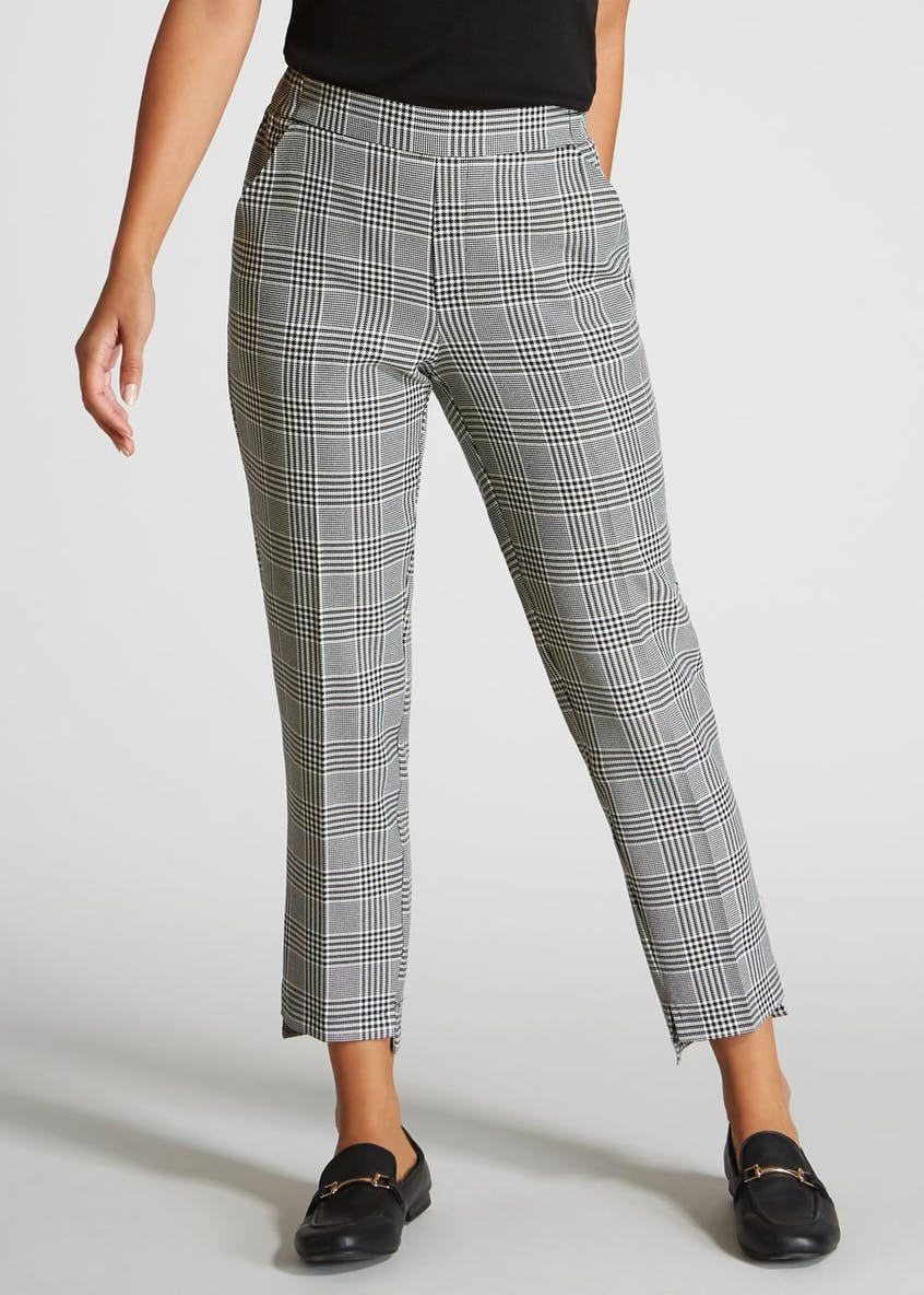 Tailored Step Hem Check Trousers