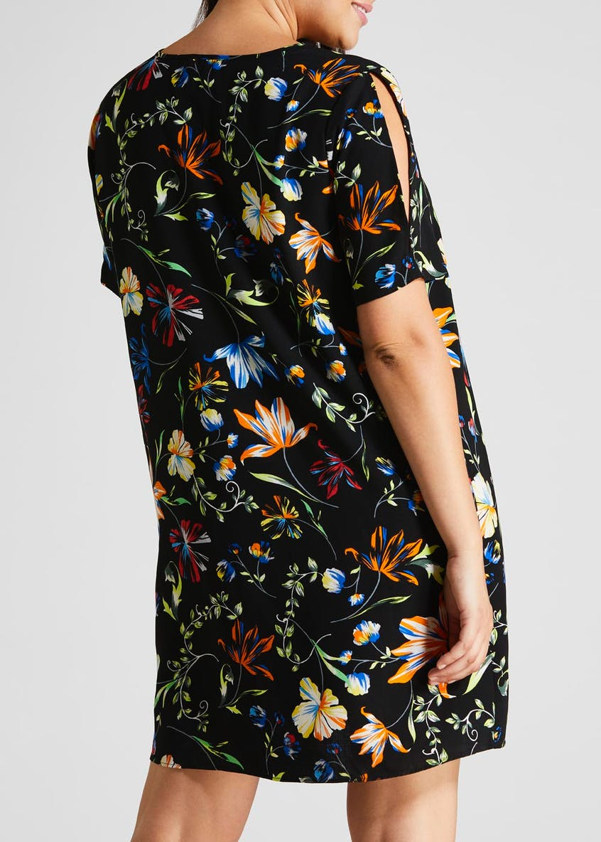 Papaya Curve Floral Cut Out Sleeve Dress - Black
