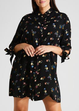 Papaya Curve Floral Shirt Dress - Black