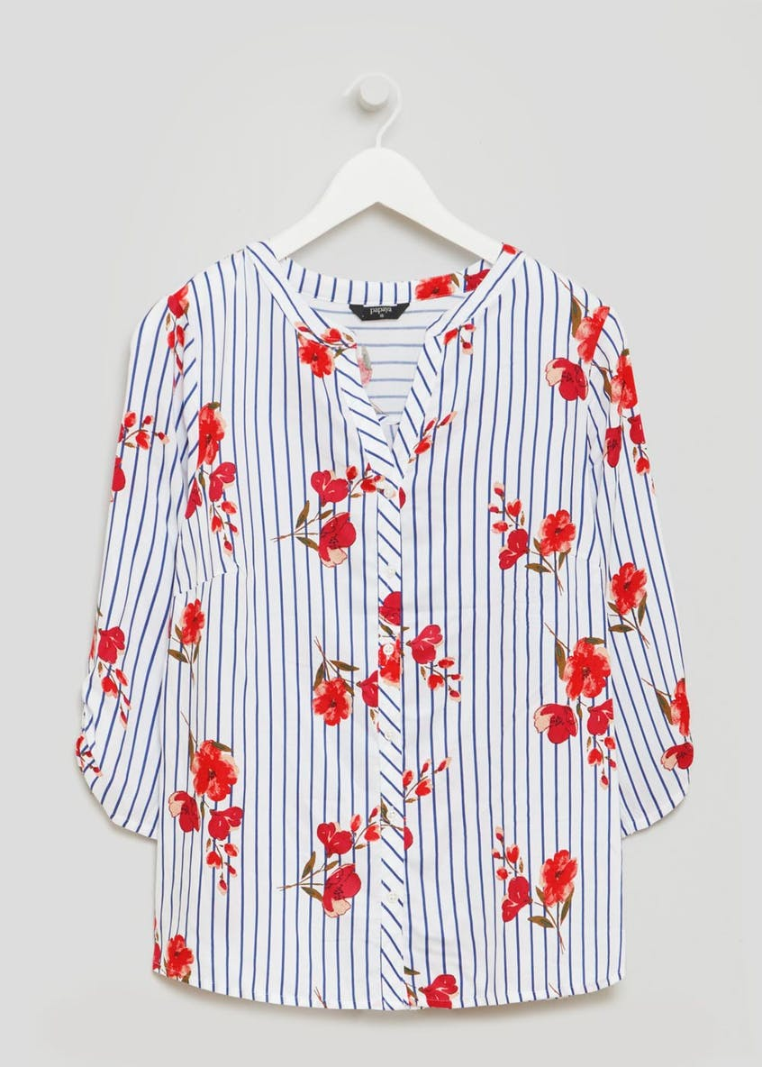 Floral Stripe Casual Shirt