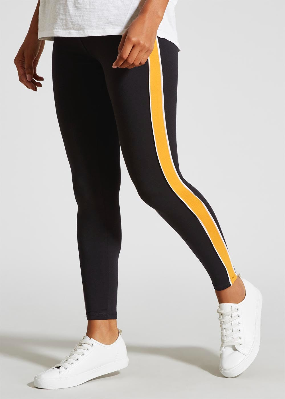 6a44fd7320482 Side Stripe Leggings – Black – Matalan