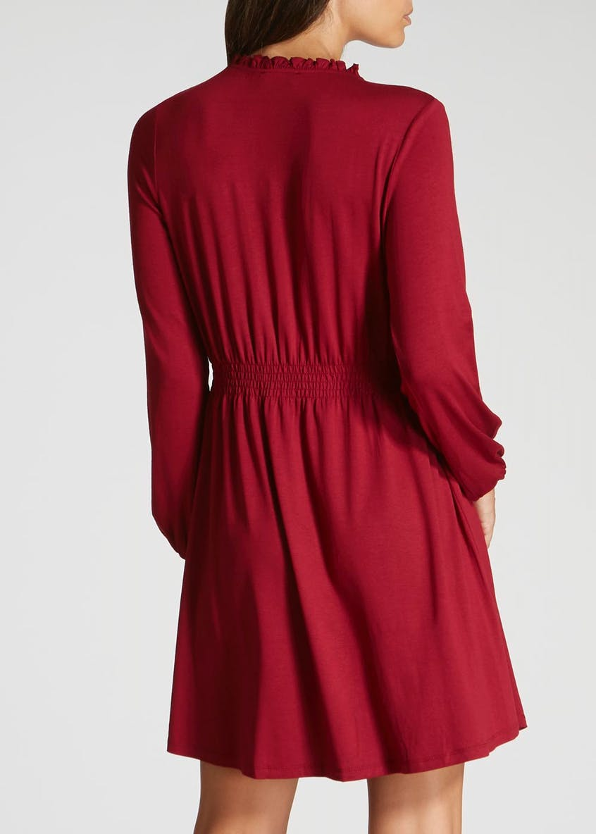 Shirred Long Sleeve Jersey Dress - Burgundy