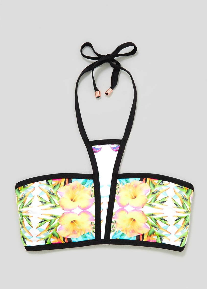 Oh My Love Tropical Floral High Neck Bandeau Bikini Top