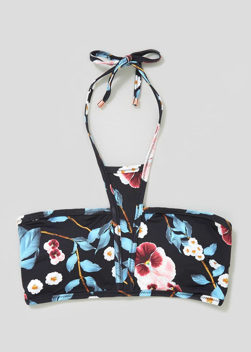 Oh My Love Floral High Neck Bandeau Bikini Top