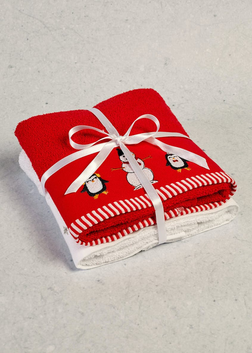 2 Pack Santa Embroidered Christmas Guest Towels (60cm x 47cm)