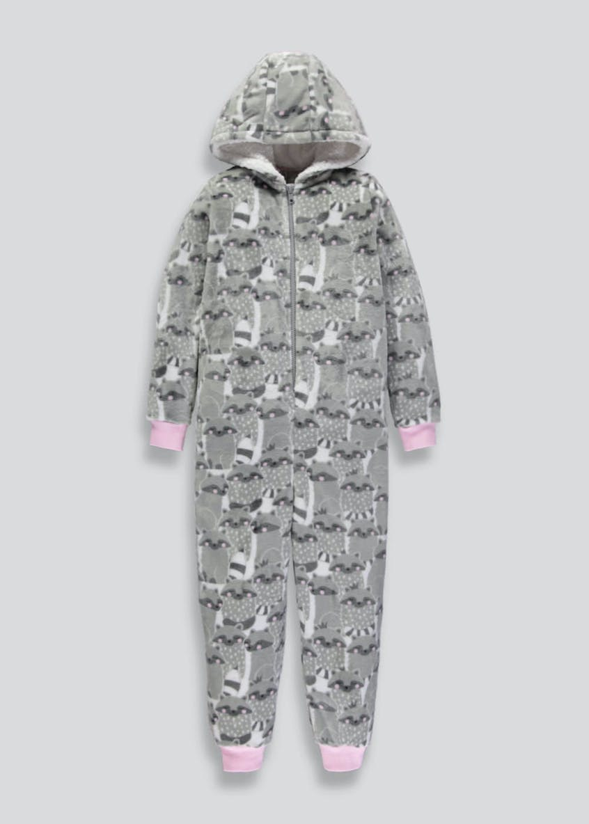 Girls Raccoon Hooded Onesie (6-13yrs)