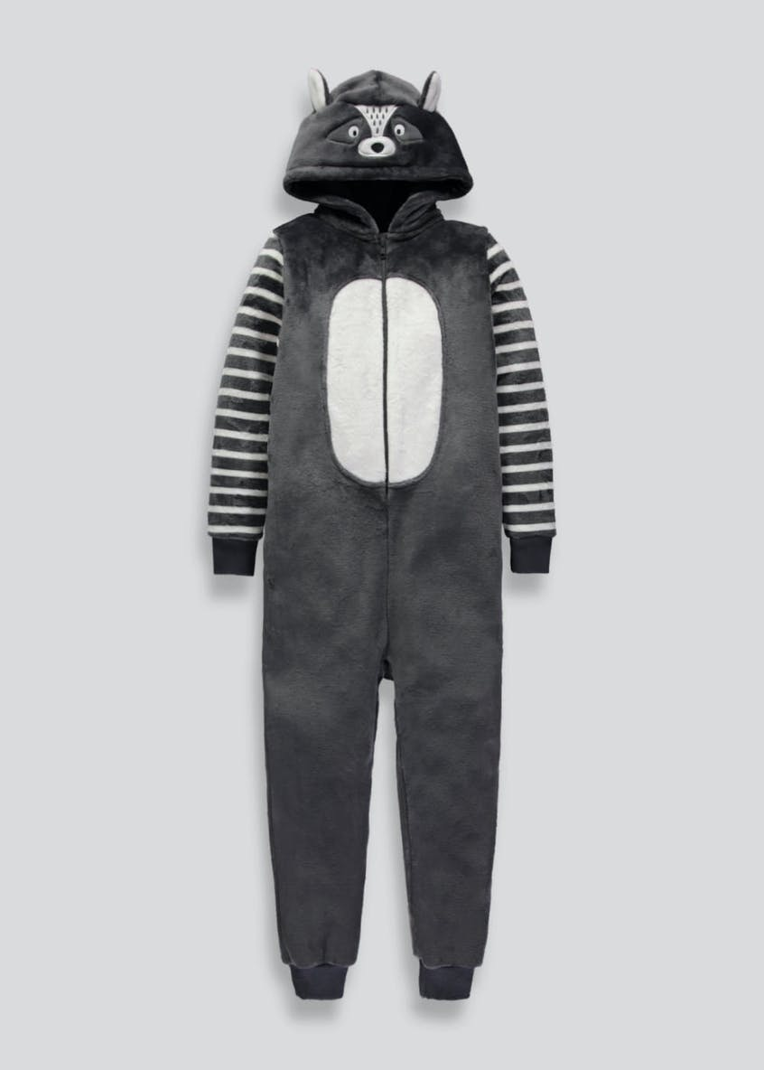 Kids Raccoon Hooded Onesie (6-13yrs)