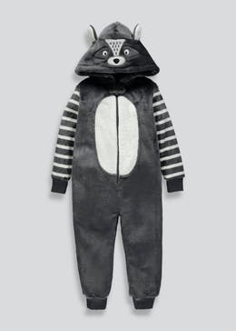Kids Raccoon Hooded Onesie (12mths-5yrs)