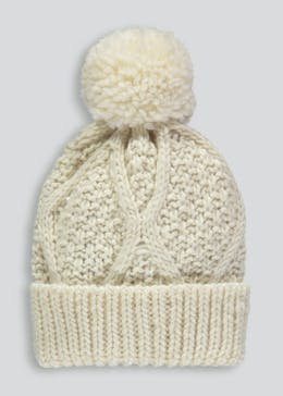 Girls Cable Knit Bobble Hat (3-13yrs)