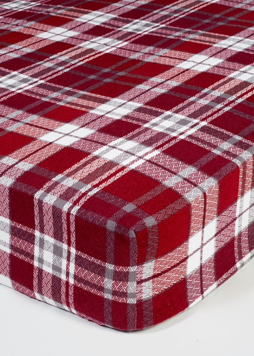 100% Brushed Cotton Check Bed Sheet