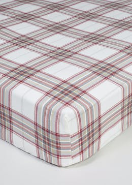 100% Cotton Check Fitted Bed Sheet
