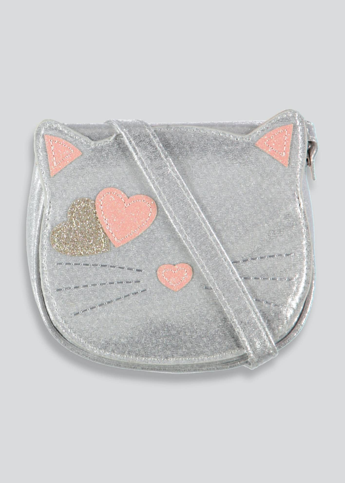 Girls Metallic Cat Cross-Body Bag