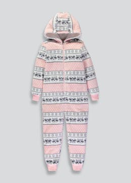 Girls Fair Isle Raccoon Hooded Onesie (6-13yrs)