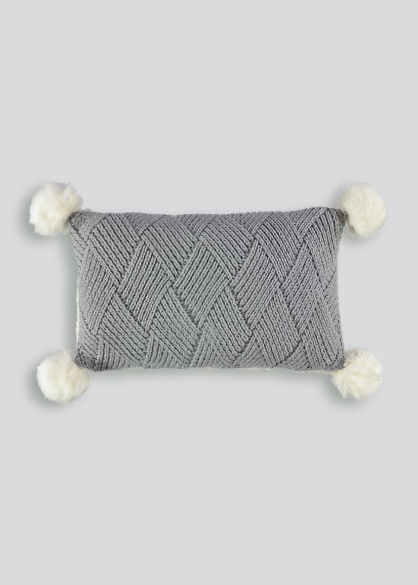 Knitted Pom Pom Cushion