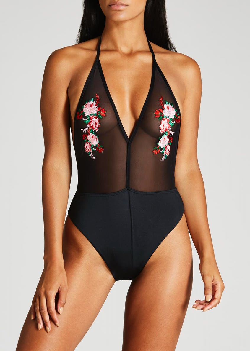 Oh My Love Floral Mesh Halterneck Swimsuit