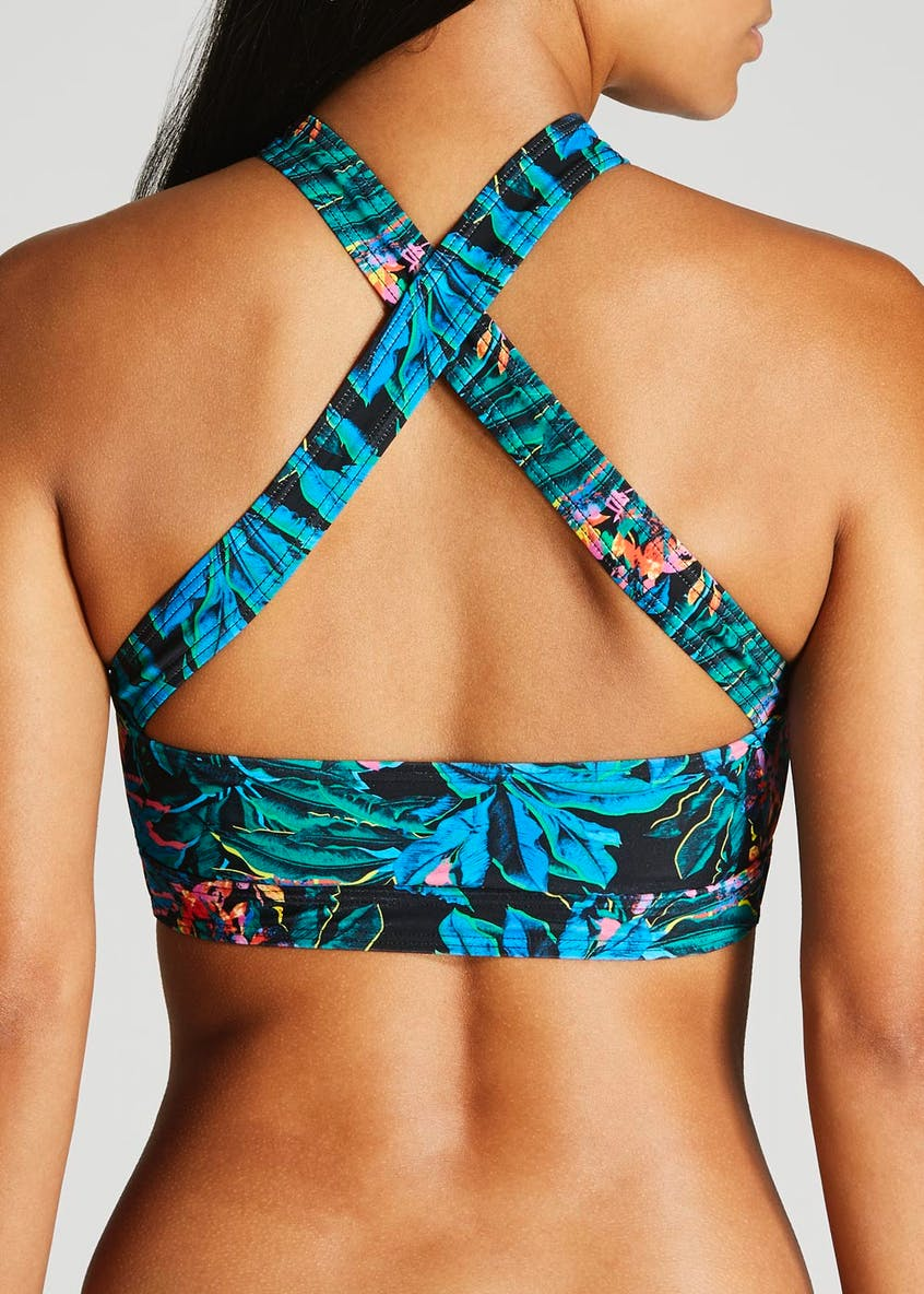 Oh My Love Palm Print Crossover Front Bikini Crop Top