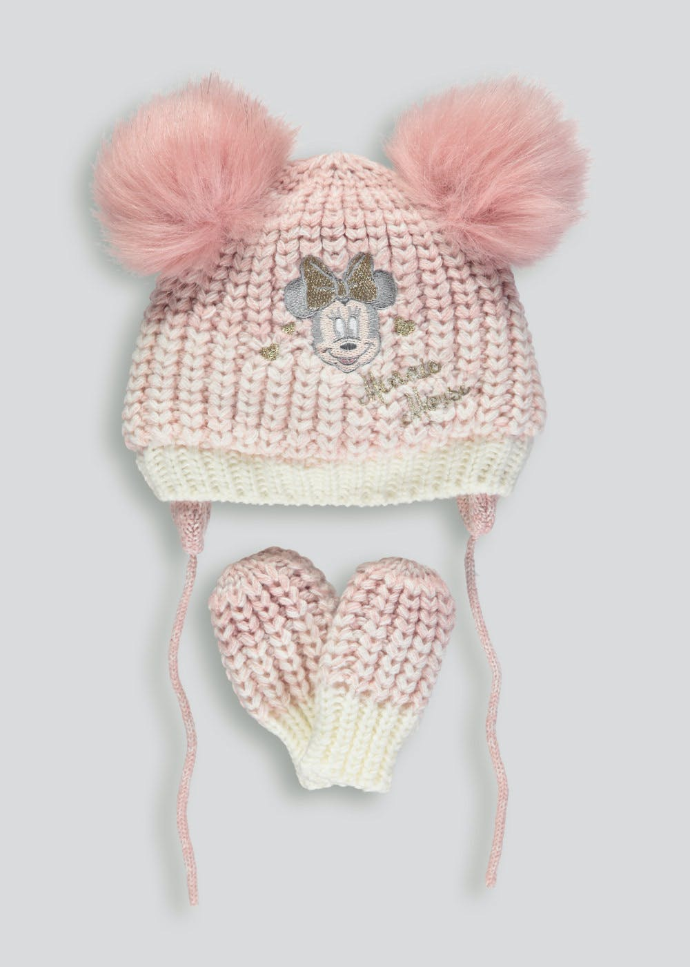 c4ddb9b92adf0 Unisex Disney Minnie Mouse Bobble Hat   Mittens Set (Newborn-23mths)