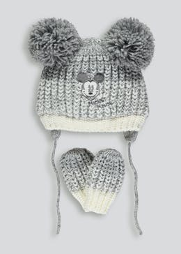 Unisex Disney Mickey Mouse Bobble Hat & Mittens Set (Newborn-23mths)