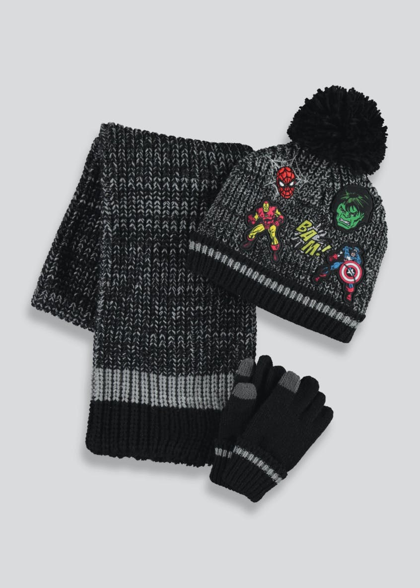Kids Avengers Hat Scarf & Gloves Set (2-10yrs)