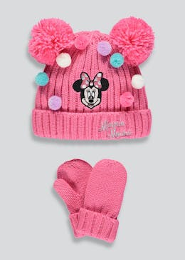 Kids Minnie Mouse Bobble Hat   Mittens (12mths-10yrs) 469920df3bd