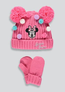 Kids Minnie Mouse Bobble Hat & Mittens (12mths-10yrs)