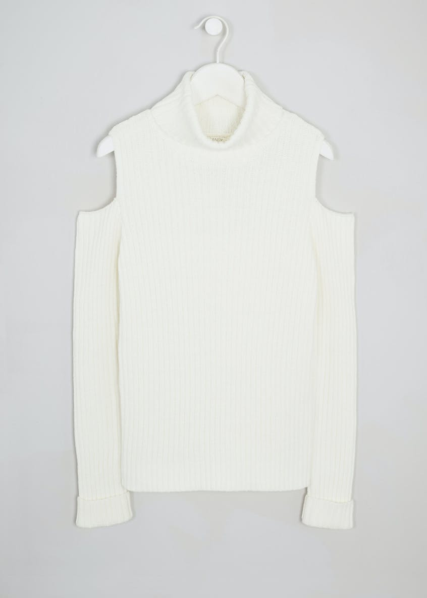 Girls Candy Couture Roll Neck Cold Shoulder Jumper (9-16yrs)