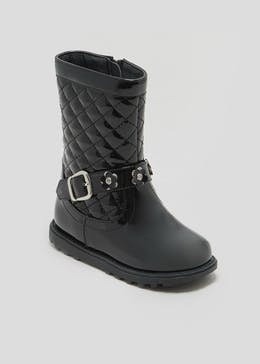 Girls Patent Quilted Knee Boots (Younger 4-12)