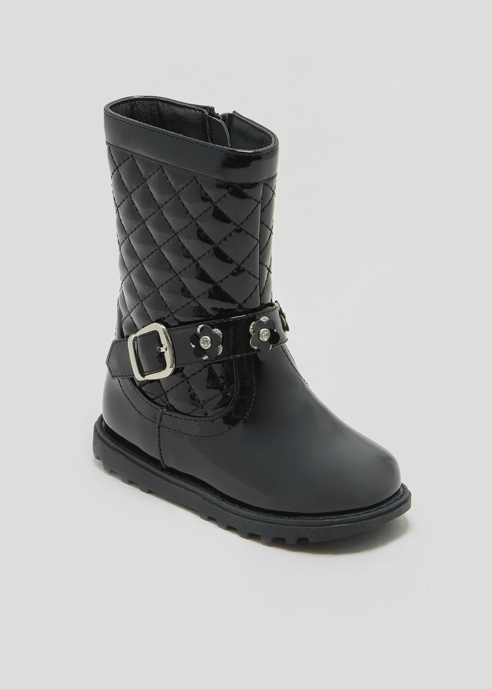 a6c0ae7295bc Matalan. Girls Patent Quilted Knee Boots (Younger 4-12)