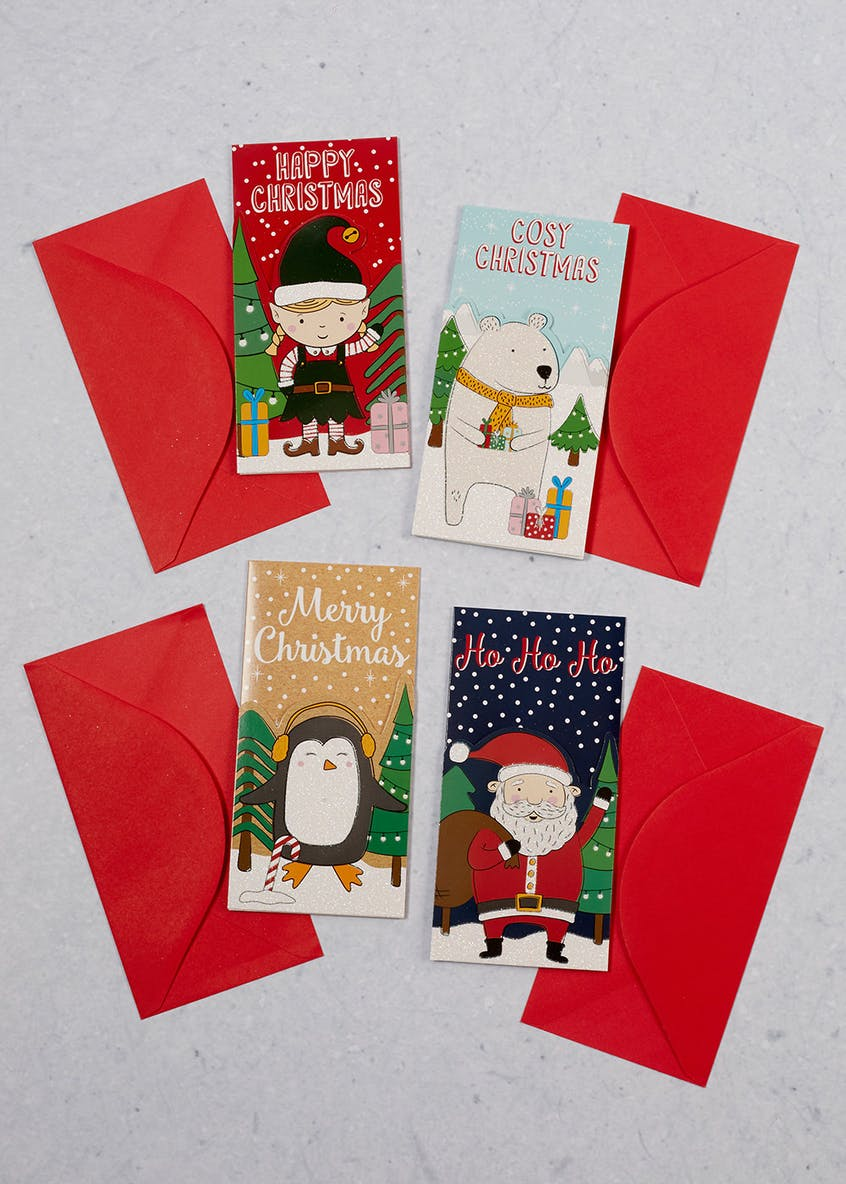 4 Pack Kids Christmas Money Wallets