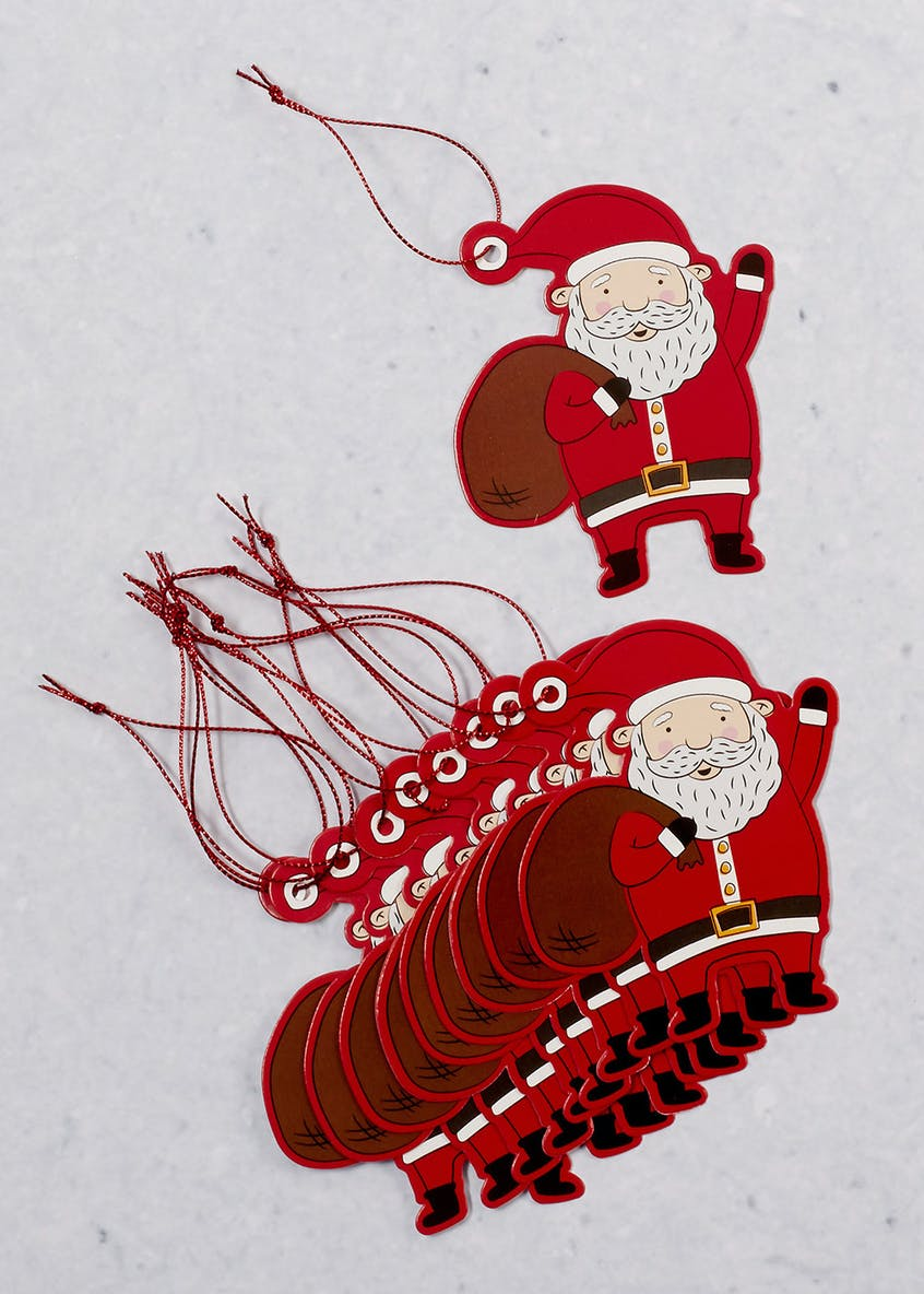 10 Pack Santa Christmas Gift Tags (5cm)