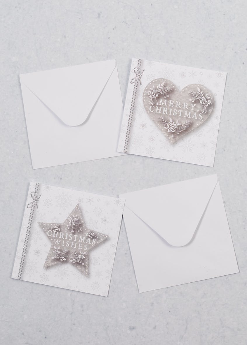 16 Pack Glitter Heart & Star Christmas Cards