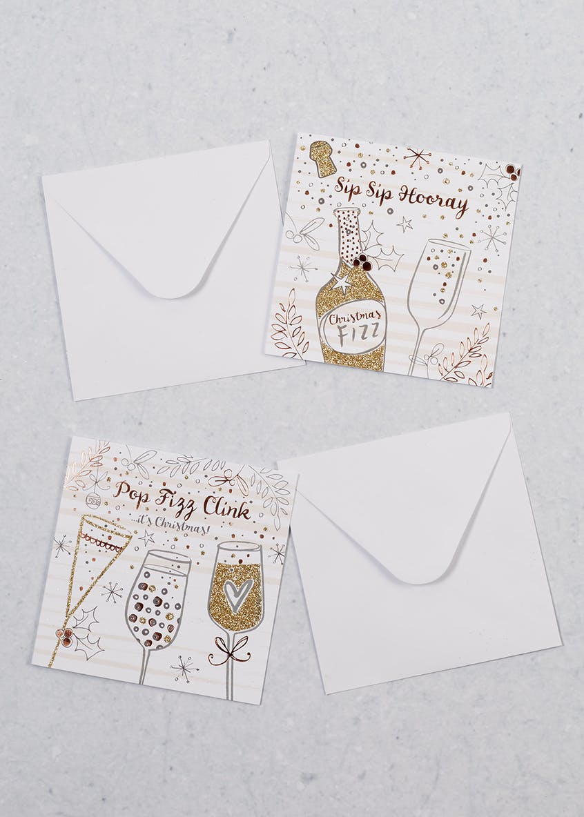 16 Pack Glitter Prosecco Christmas Cards