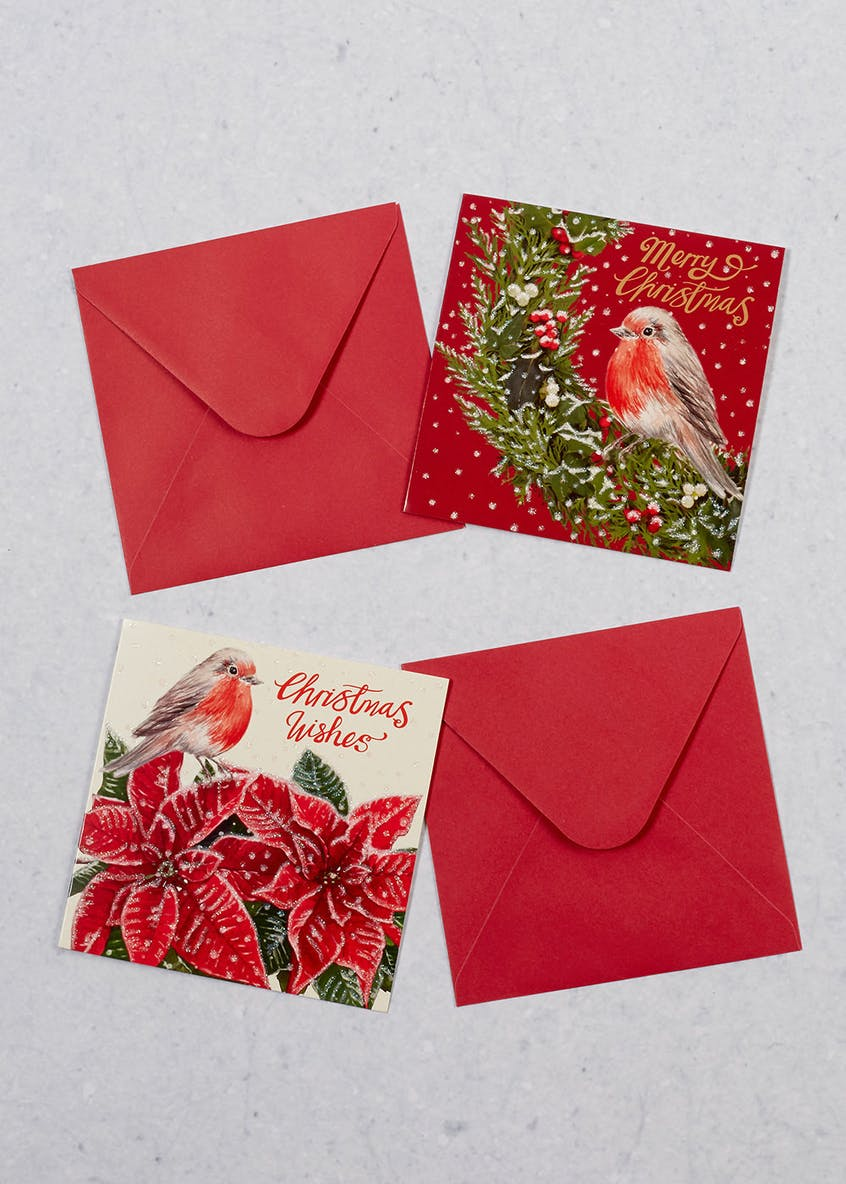 16 Pack Robin & Poinsettia Christmas Cards