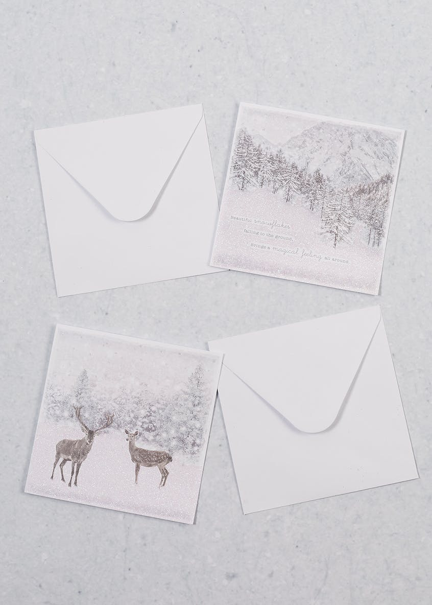 16 Pack Glitter Stag Christmas Cards